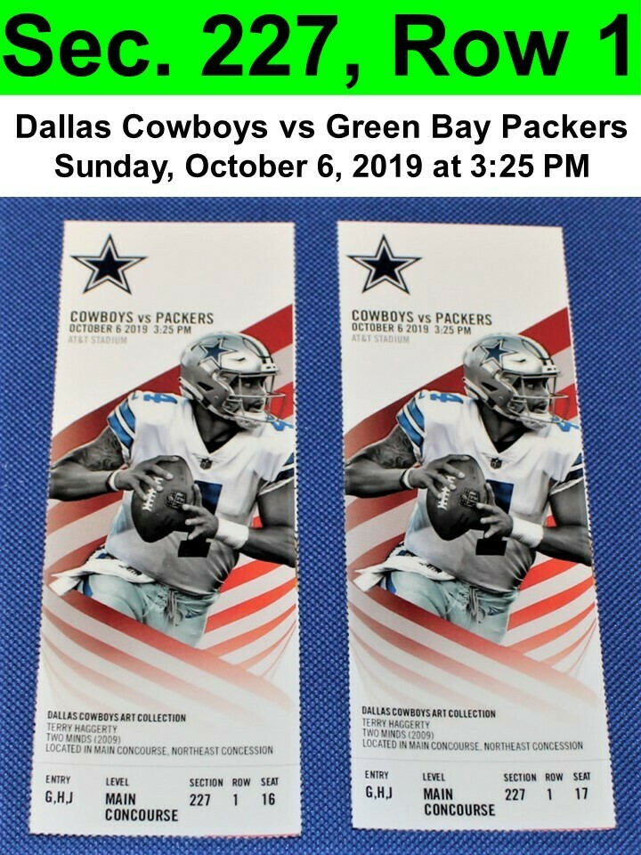 Two (2) Dallas Cowboys vs Green Bay Packers Tickets Sec. 227, Row 1, GREAT VIEW!