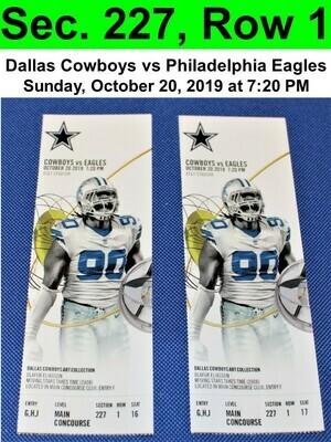 Two (2) Dallas Cowboys vs Philadelphia Eagles Tickets Sec. 227, Row 1, GREAT VIEW!