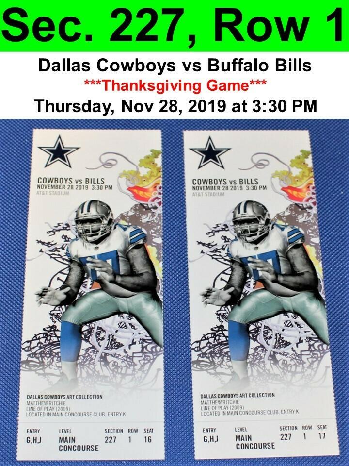 Two (2) Dallas Cowboys vs Buffalo Bills Tickets Sec. 227, Row 1, GREAT VIEW!