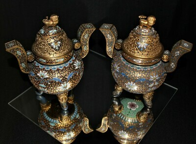 Pair of Chinese Cloisonné 3-Legged Foo Dog Censer Incense Burners w/Lion Covers