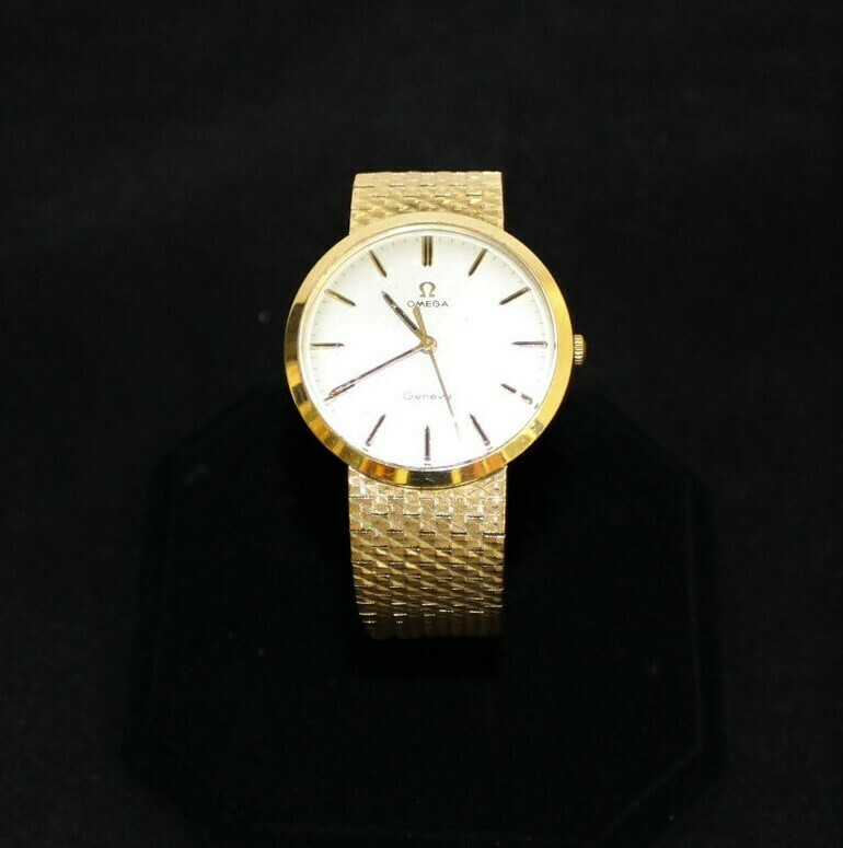 Men's Vintage Omega Geneve 18k Genuine Solid Yellow Gold Watch, Hallmarked