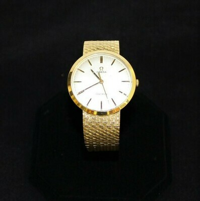 Men's Vintage Omega Geneve 18k Genuine Solid Yellow Gold Watch, Hallmarked