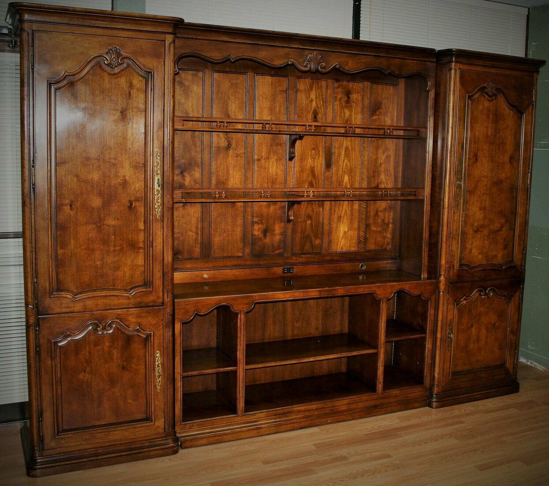 HENREDON Mahogany 4-Piece Lighted Wall Bookcase Display Cabinet