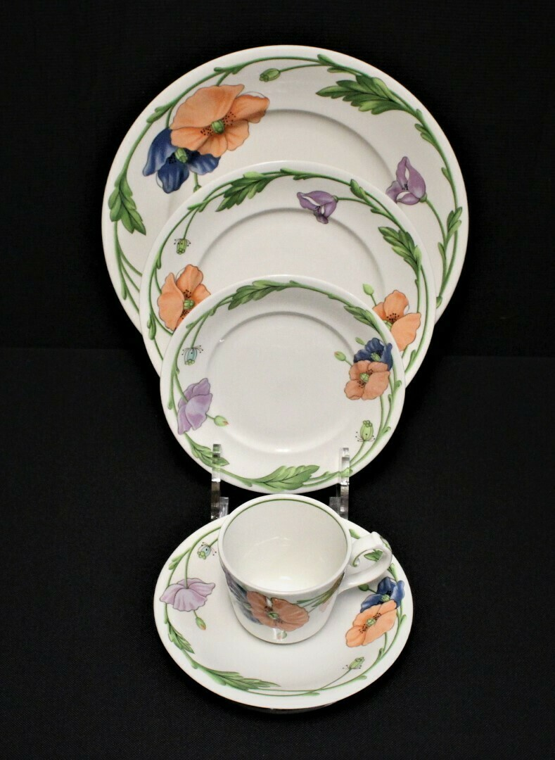 Villeroy & Boch Amapola 5-Piece Place Setting; Dinner, Salad, Bread, Saucer & Cup
