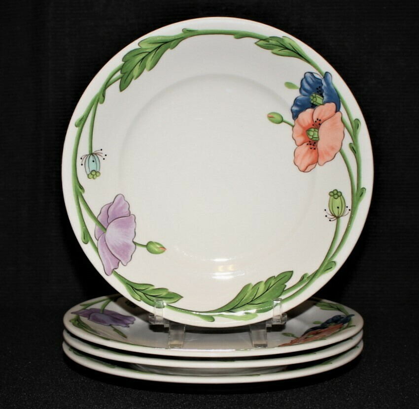 "Set of 4 Villeroy & Boch Amapola Pattern 6.5"" Bread Plates"