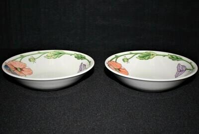 """Set of 2 Villeroy & Boch Amapola Pattern Fruit or Dessert 6 1/8"""" Bowls"""
