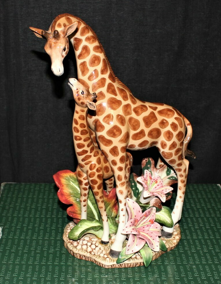 "Fitz & Floyd Exotic Jungle 15"" Mother and Baby Giraffe Figurine w/ Box #78/300"