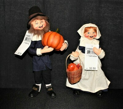 ​Pair of 2005 Annalee Thanksgiving Pilgrim Man & Woman Dolls w/ Original Tags