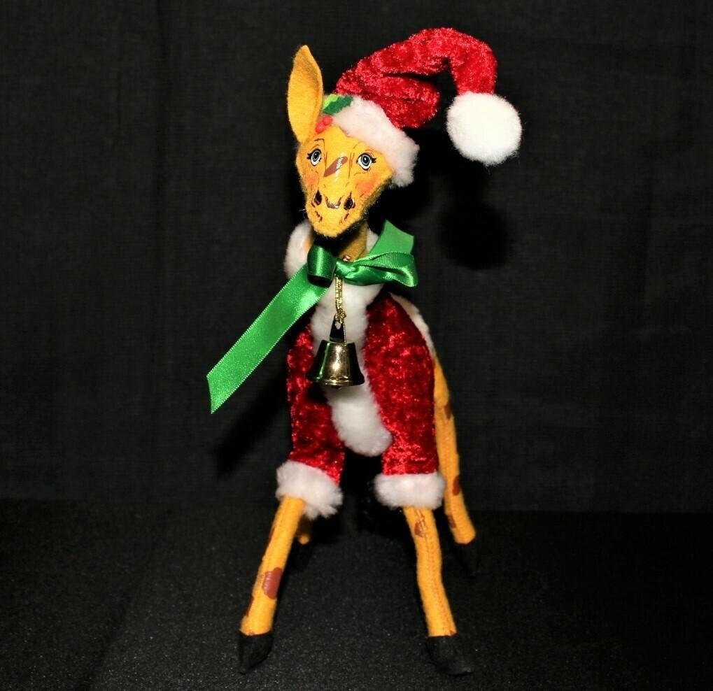 "2012 Annalee Cozy Christmas 12"" Giraffe Plush Doll with Bell"