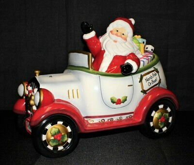 "Laurie Furnell Large 14"" Hand Painted Santa Car Cookie Jar, Hallmarked"