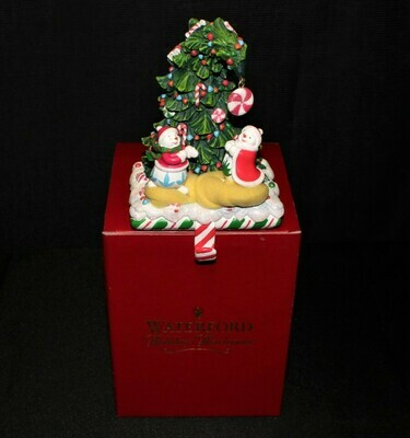 Waterford Holiday Heirlooms Musical Snowmen & Tree Stocking Holder in Original Box