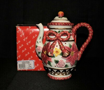 Fitz & Floyd Father Christmas Poinsettia Tea Pitcher in Original Box