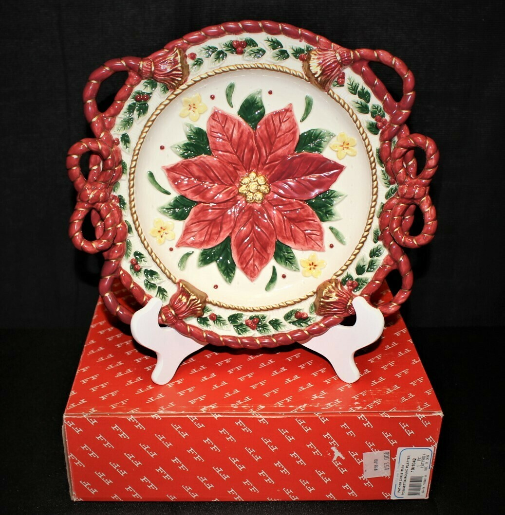 Fitz & Floyd Father Christmas Poinsettia Centerpiece Serving Plate in Original Box