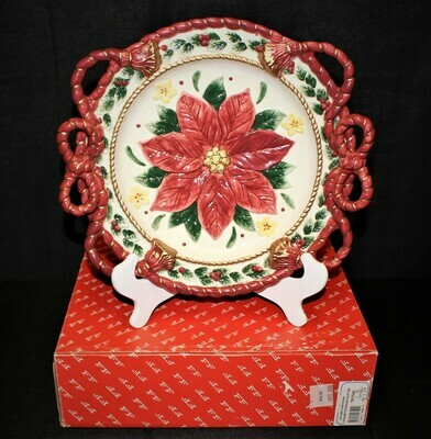 ​Fitz & Floyd Father Christmas Poinsettia Centerpiece Serving Plate in Original Box
