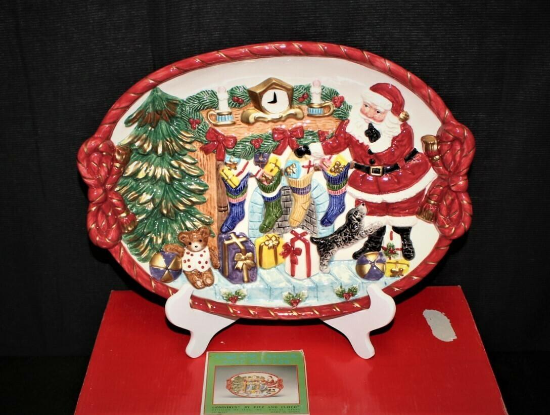 1996 Fitz & Floyd Omnibus Toyland Santa Christmas Oval Serving Platter w/ Box