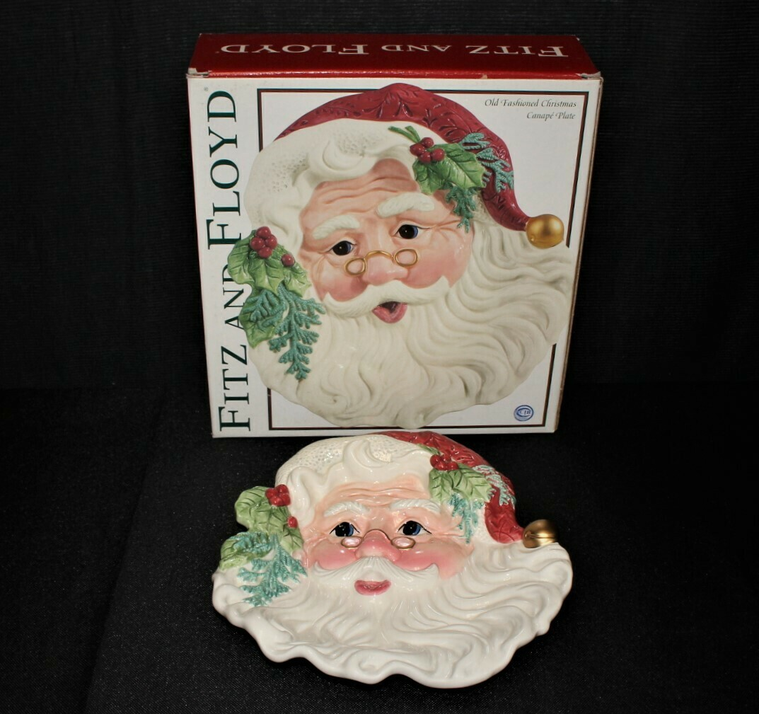 Santa Fitz & Floyd Classics Old Fashioned Christmas Canape Cookie Plate in Original Box