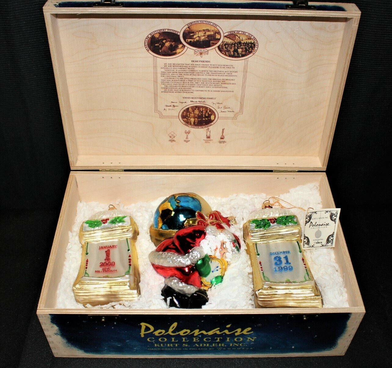 Polonaise Collection Millennium 2000 Glass Ornaments by Kurt S. Alder in Wood Box