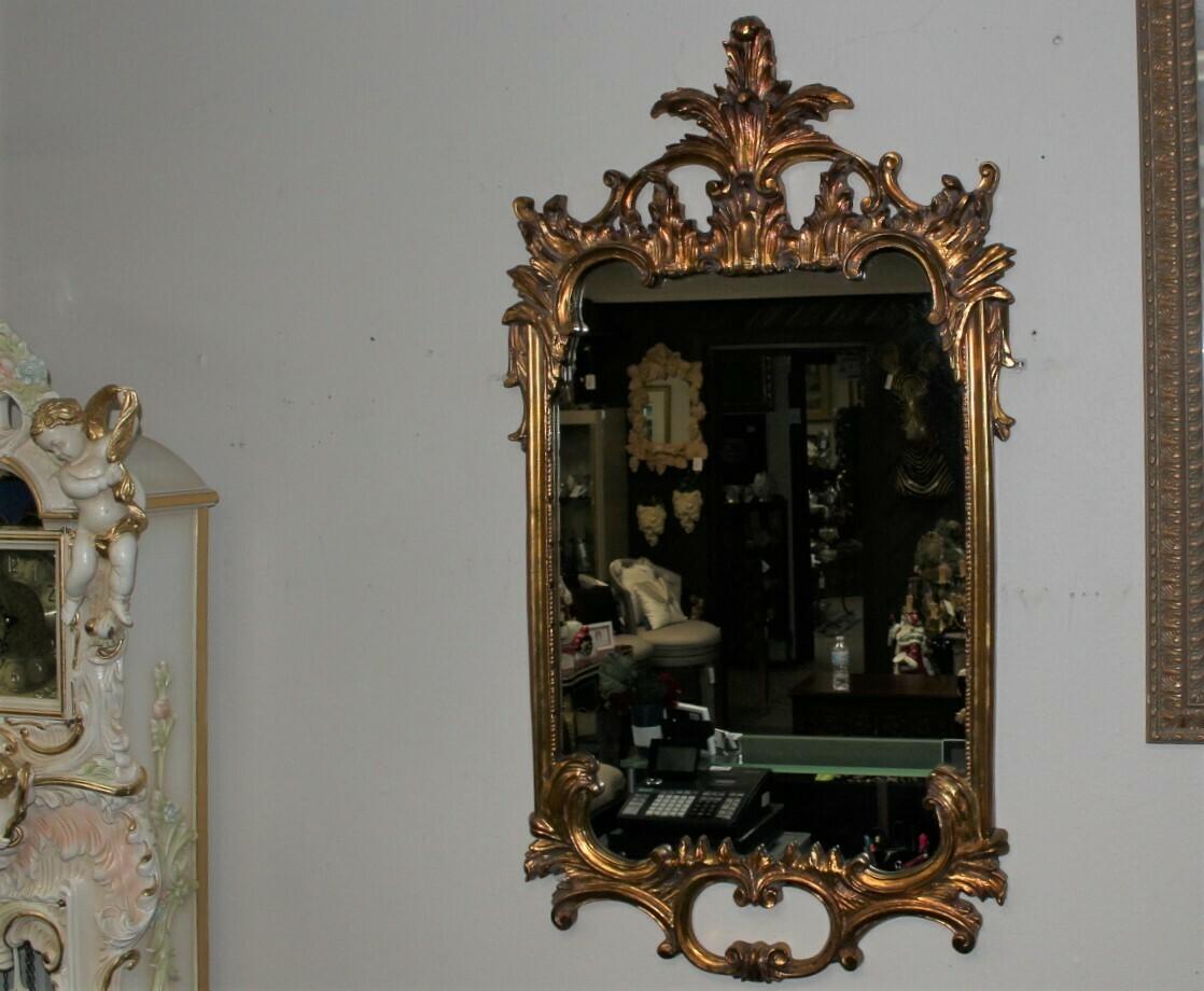 "Windsor Art Large 51"" Gold Leaf Finish Ornate Scroll Wall Mirror"