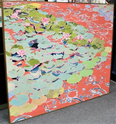 Huge 20th Century Water Lily Pad Oil on Canvas Painting, Signed by Artist Miave