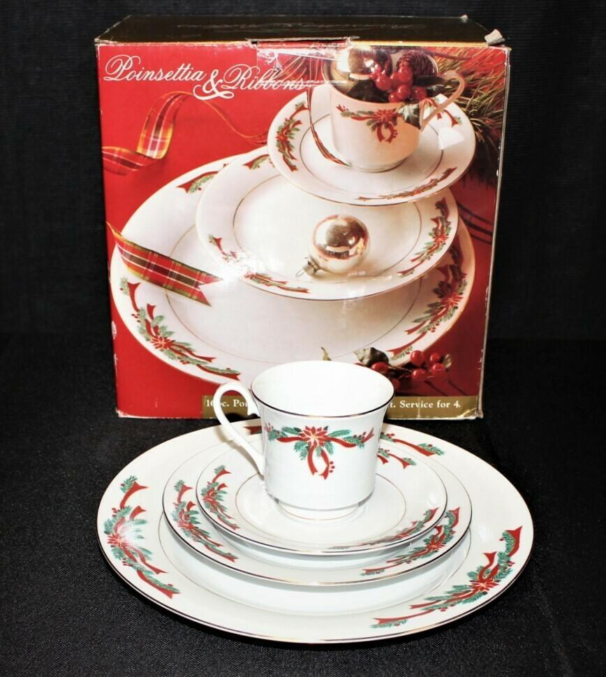 Poinsettia & Ribbons 16 Piece Holiday Porcelain Dinnerware Set in Original Box