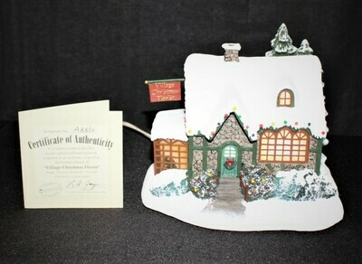 "Thomas Kinkade 2002 ""Christmas Florist"" Hawthorne Lamplight Sculpture #A8860"