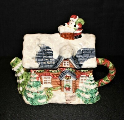 Heritage Mint Christmas Teapot, Santa Entering Chimney from Snow Covered Rooftop