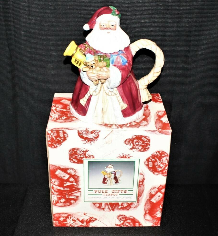 Fitz & Floyd 1994 Omnibus Christmas Santa Teapot #2073/120 in Original Box