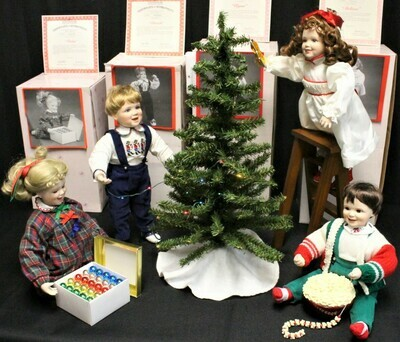 Ashton Drake 4 Porcelain Doll Set & Accessories Decorating Tree w/ COA & Boxes