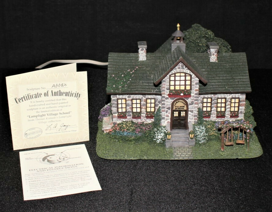 "Thomas Kinkade 2001 ""Lamplight Village School"" Hawthorne House #A6683"