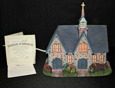 "Thomas Kinkade 2003 ""Light of Peace Church"" Hawthorne Village Lamplight #A0187"