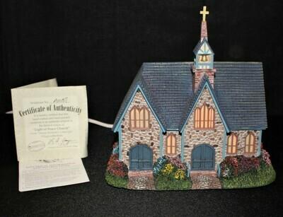 "Thomas Kinkade 2003 ""Light of Peace Church"" Hawthorne Village Lamplight #A0187"