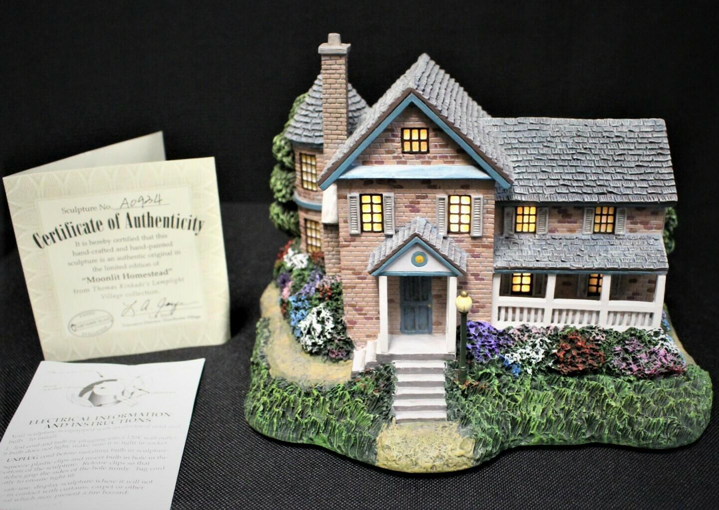 """Thomas Kinkade 2002 """"Moonlit Homestead"""" Hawthorne Village Lamplight #A0934"""