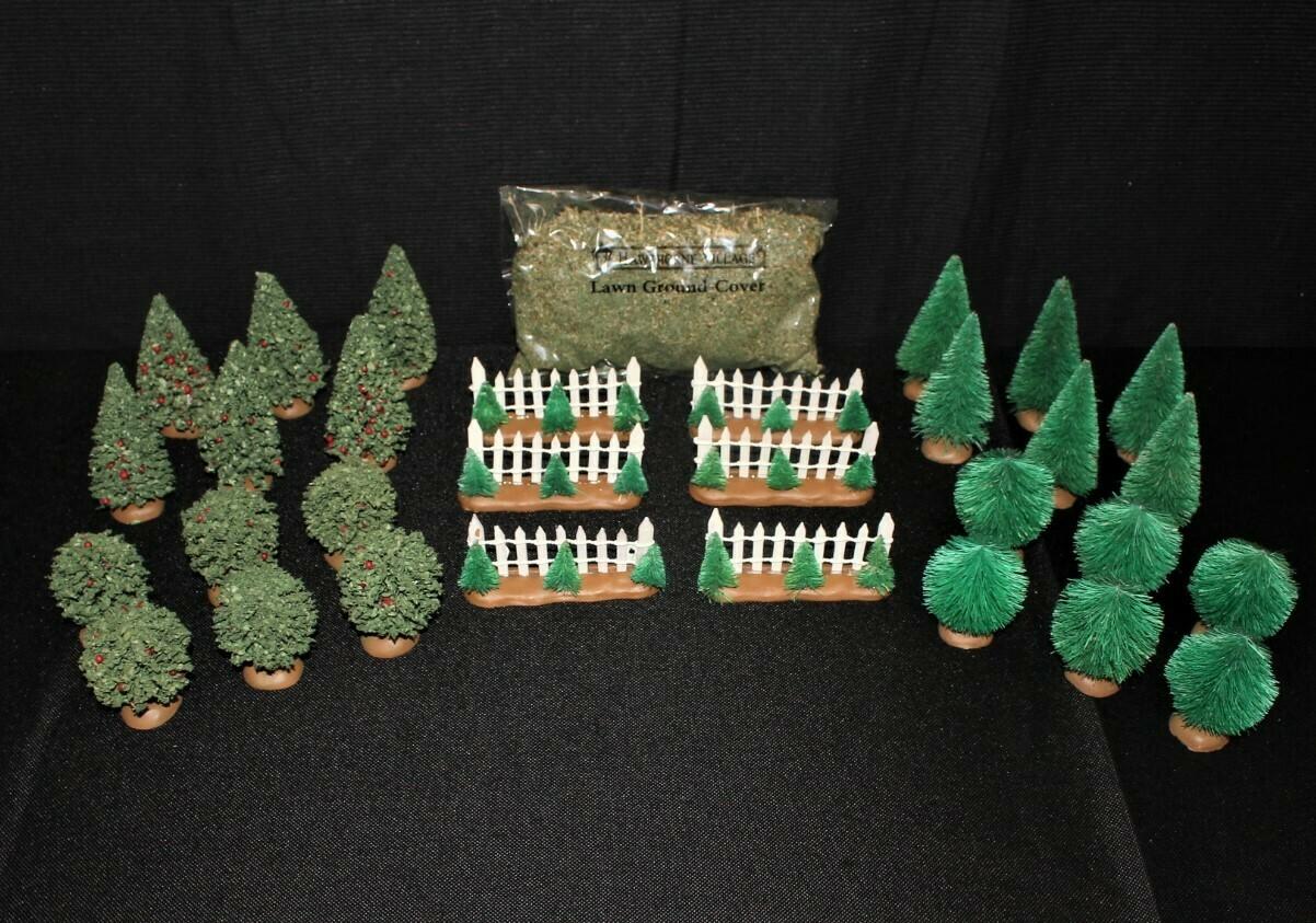 Thomas Kinkade 30-Piece 2004 Hawthorne Village Evergreen Shrub Landscape Set