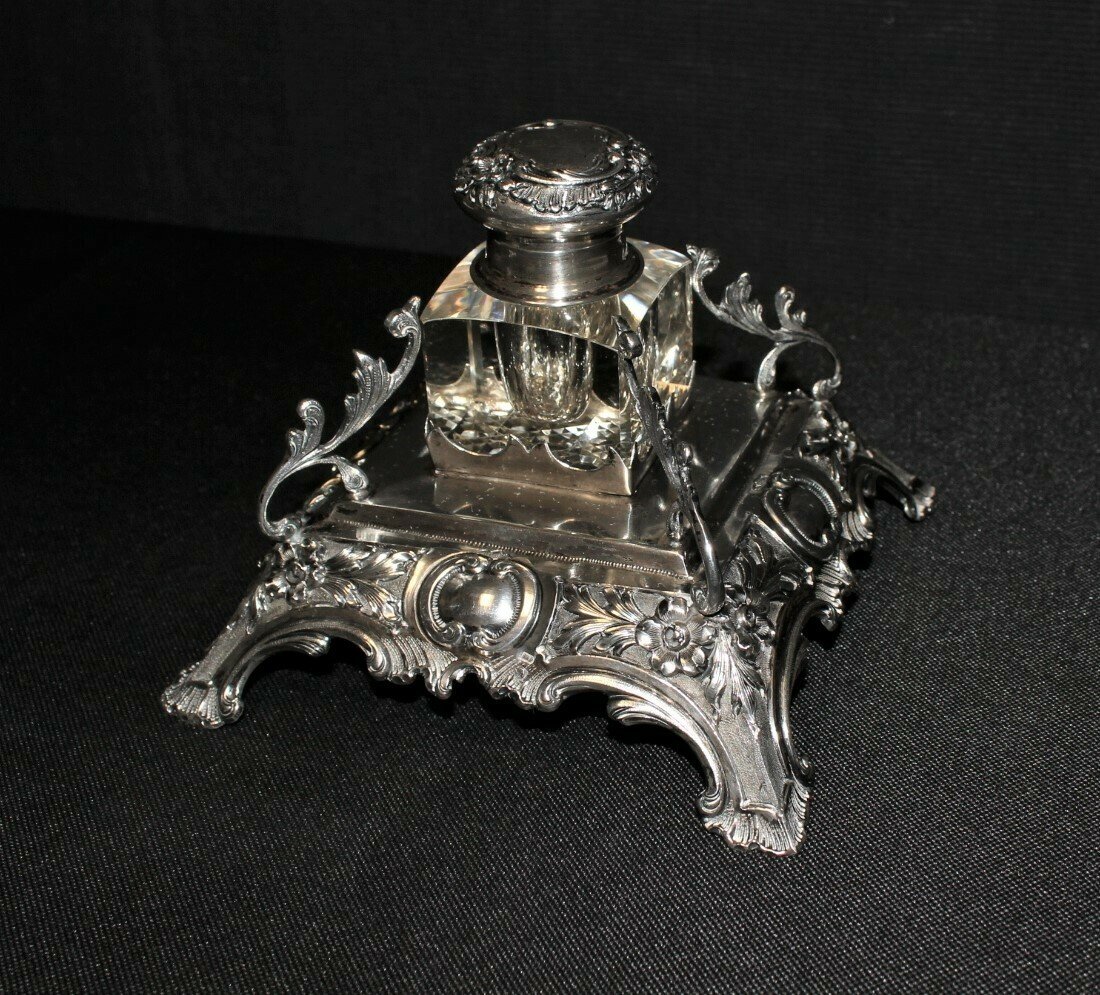 Antique 1890's Cut Glass and Sterling Silver Desk Inkwell and Stand, Hallmarked