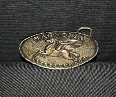 1970's Magnolia Petroleum Co. Pegasus Mobil Oil Belt Buckle by Lewis Buckles