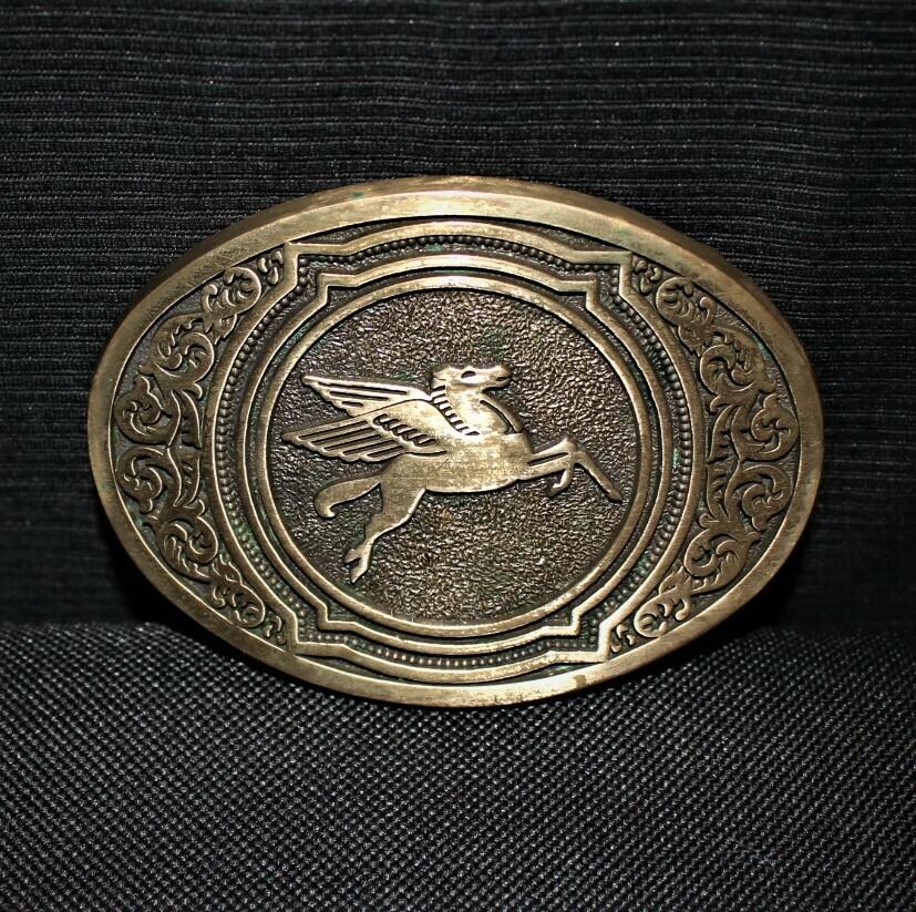 Vintage 1981 Mobil Oil Pegasus O.C. Tanner Solid Brass Belt Buckle