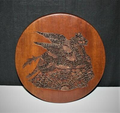 Indonesian Copper Batik Flying Pegasus Horse Stamp Mounted in Wood Trivet