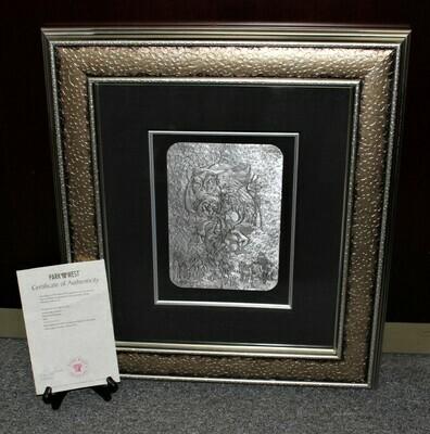 "Anatole Krasnyansky ""Blue Bird"" Framed Hand Hammered Relief on Aluminum, Signed"