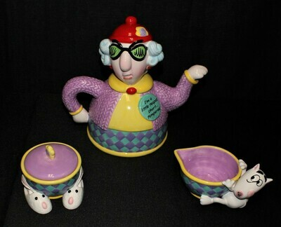 "Hallmark Maxine ""Short Tempered"" 4-Piece Teapot, Creamer & Covered Sugar Bowl"