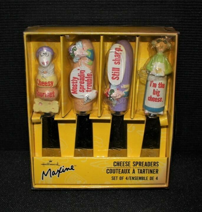 Hallmark Maxine Set of 4 Stainless Steel Cheese Spreaders in Original Box