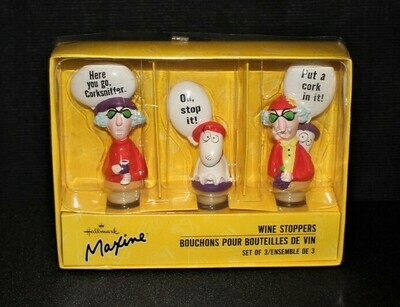 Set of 3 Hallmark Maxine and Floyd Wine Stoppers in Original Box