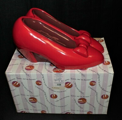 The Wizard of Oz Dorothy's Red Slipper Shoes Cookie Jar by Enesco, Original Box