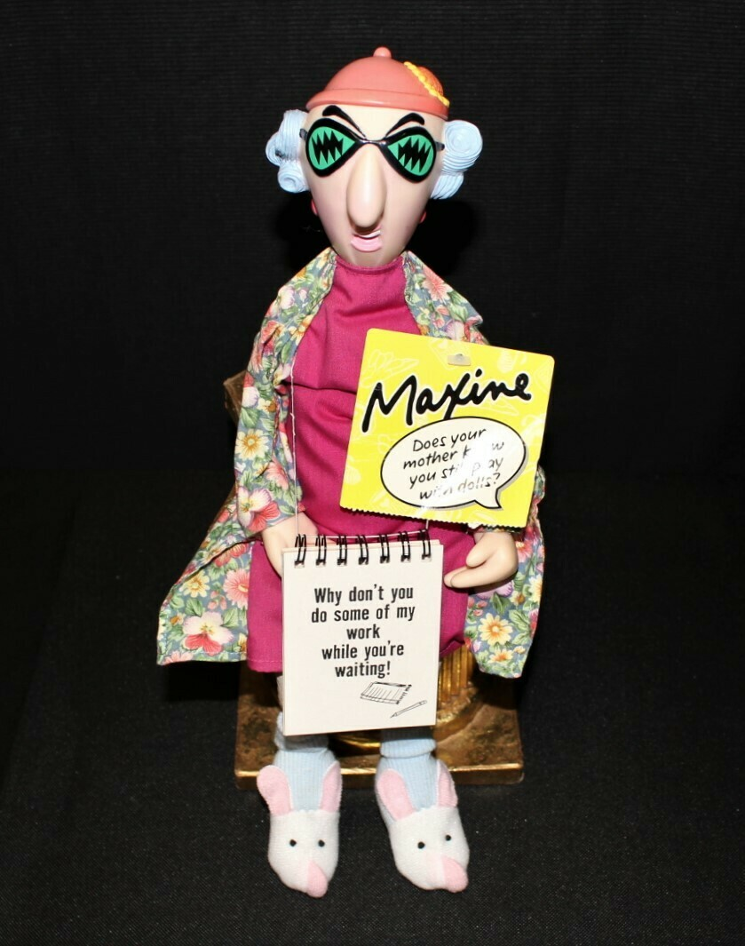 Hallmark Maxine Shelf Desk Sitter Doll with Bunny Slippers and Spiral Book Pad