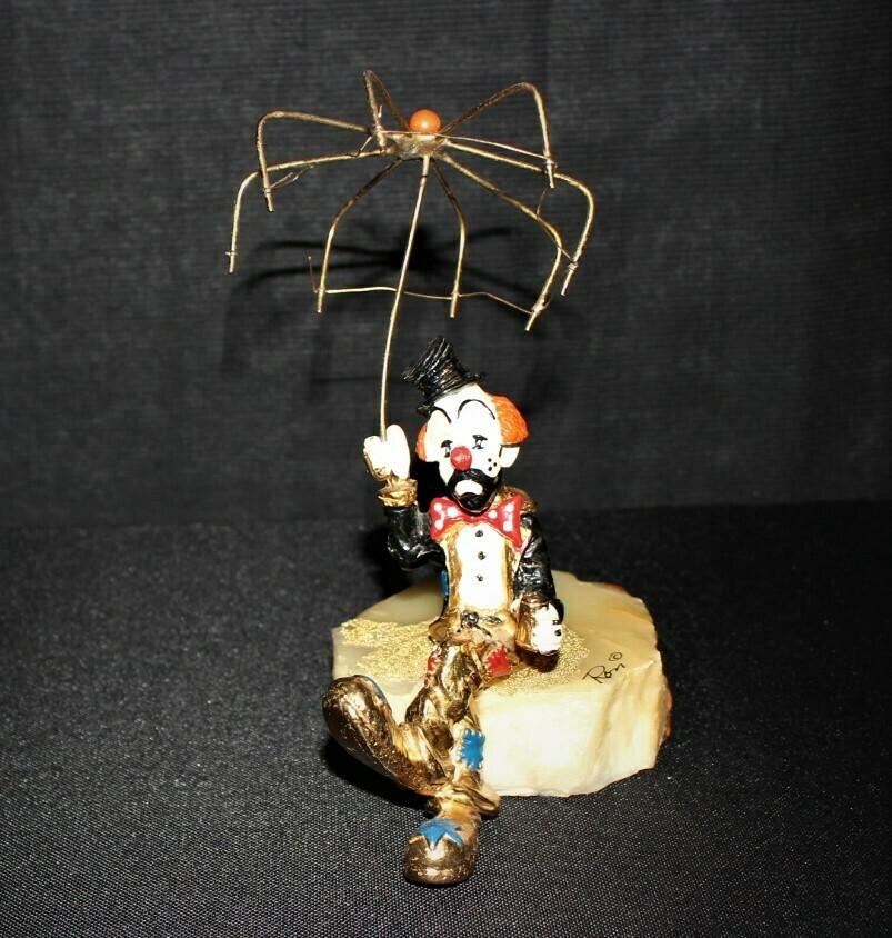 1980's Ron Lee Rainy Day Blues Hand Painted 24kt. Clown Sculpture Figurine
