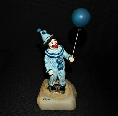 1984 Ron Lee Blue Circus Clown and a Balloon Sculpture Figurine, Signed