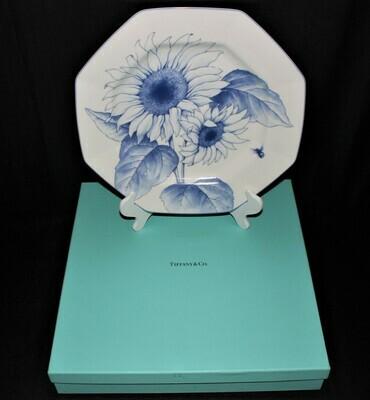 "TIFFANY & CO ""Nature"" 13"" Octagonal Sunflower Serving Platter in Original Box"