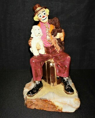 "1985 Ron Lee Large 12"" Clown w/ Dogs Sitting on Suitcase Sculpture Figurine #754"