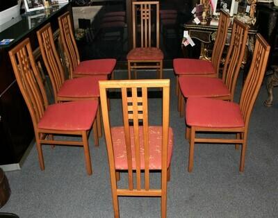 Set of 8 Italian Mid-Century Modern Teak High Back Upholstered Dining Chairs
