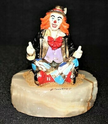 1997 Ron Lee Thumbs Up Sitting Clown 24kt Sculpture Figurine, Onyx Base Signed