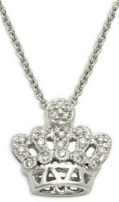Sydney Evan Small Diamond Crown Pendant 14K White Gold Necklace, Retails $1225